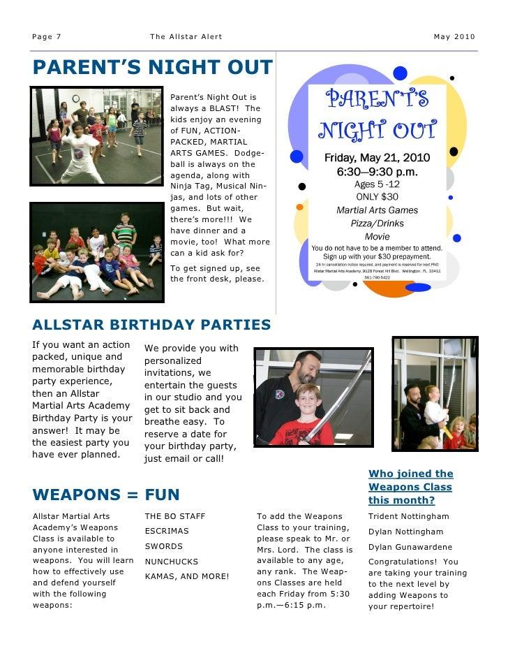 Allstar Martial Arts Academy May 2010 Newsletter
