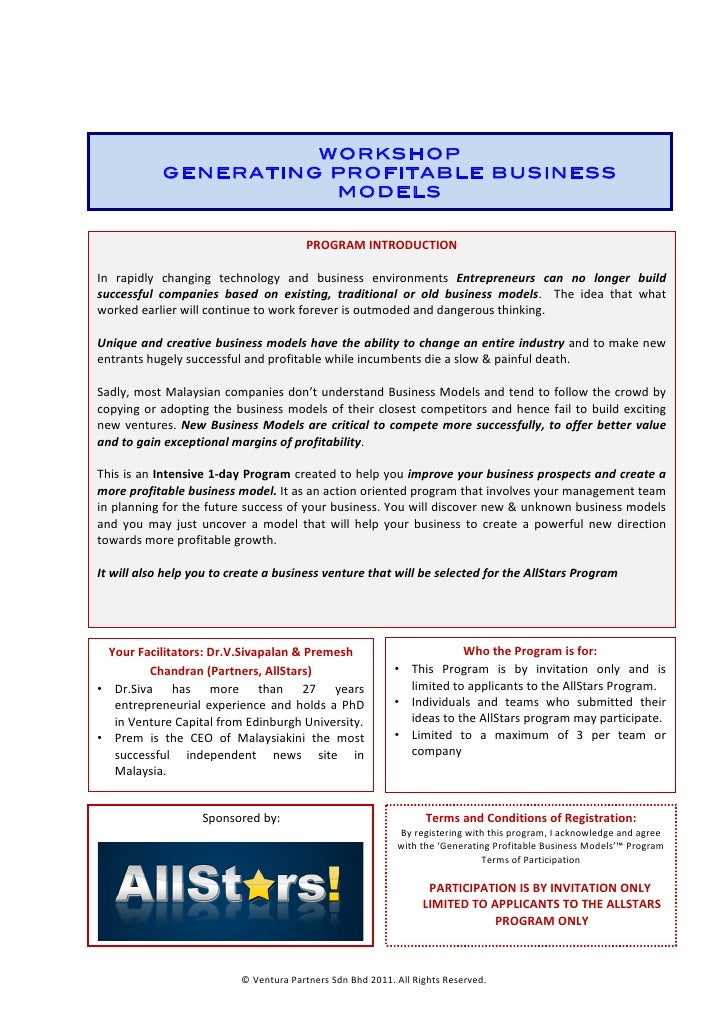 WORKSHOP                          GENERATING PROFITABLE BUSINESS               ...