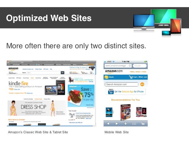 Optimized Web SitesMore often there are only two distinct sites.Amazon's Classic Web Site & Tablet Site   Mobile Web Site
