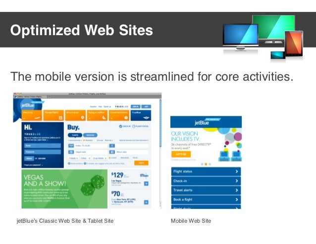 Optimized Web SitesThe mobile version is streamlined for core activities. jetBlue's Classic Web Site & Tablet Site   Mobil...