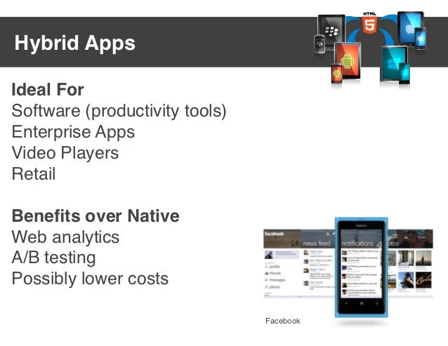 Hybrid AppsIdeal ForSoftware (productivity tools)Enterprise AppsVideo PlayersRetailBenefits over NativeWeb analyticsA/B tes...