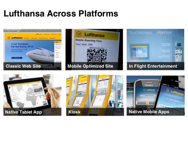 Lufthansa Across PlatformsClassic Web Site    Mobile Optimized Site   In Flight EntertainmentNative Tablet App   Kiosk    ...