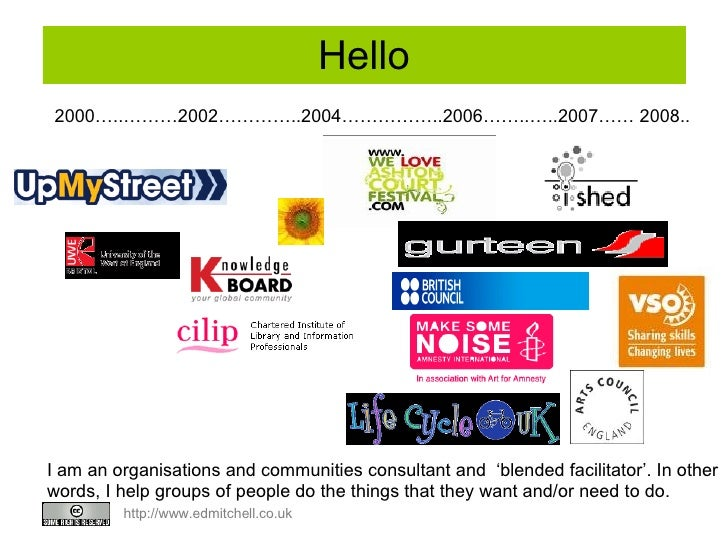 Hello 2000…..………2002…………..2004……………..2006……..…..2007…… 2008.. I am an organisations and communities consultant and  'blend...