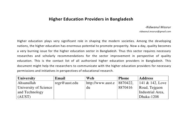Higher Education Providers in Bangladesh                                                                                  ...