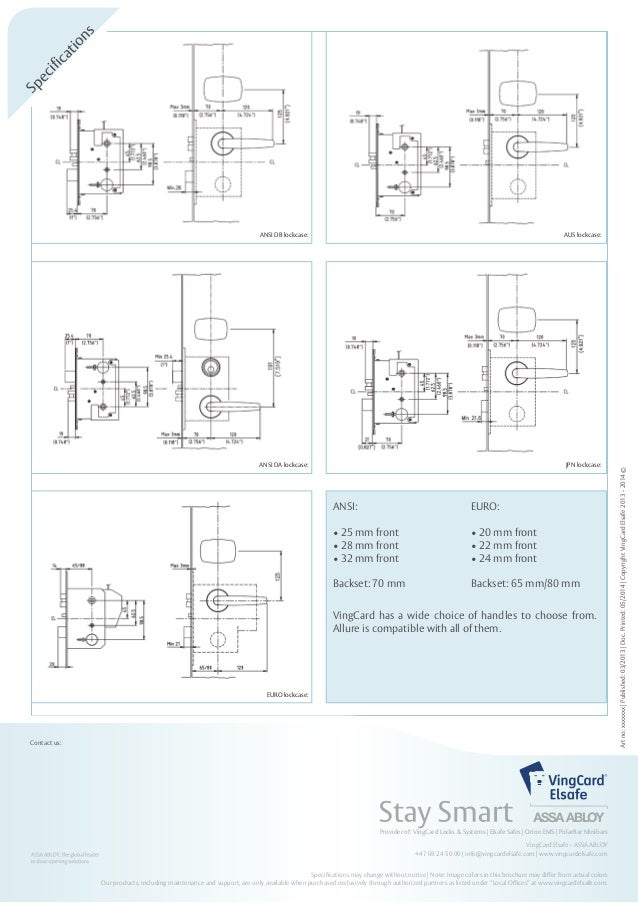Controllo Accessi Vingcard Modello Allure Data Sheet on door lock diagram