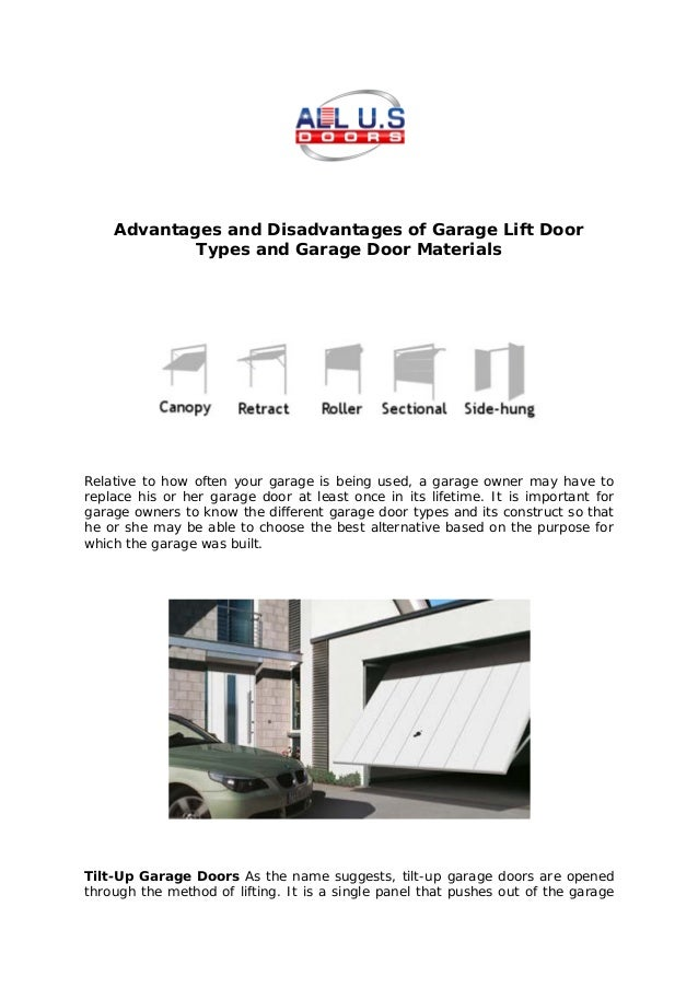 Advantages And Disadvantages Of Garage Lift Door Types And Garage Door  Materials Relative To How Often ...