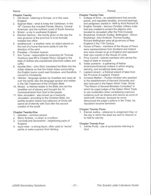 The Scarlet Letter Literature Guide Answer Key