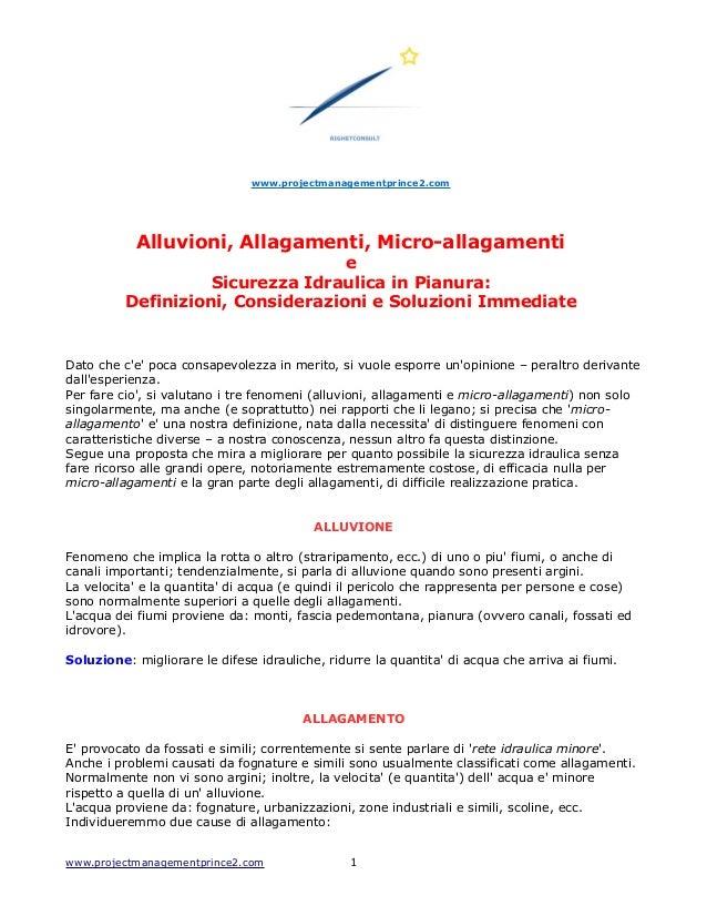 www.projectmanagementprince2.com Alluvioni, Allagamenti, Micro-allagamenti e Sicurezza Idraulica in Pianura: Definizioni, ...