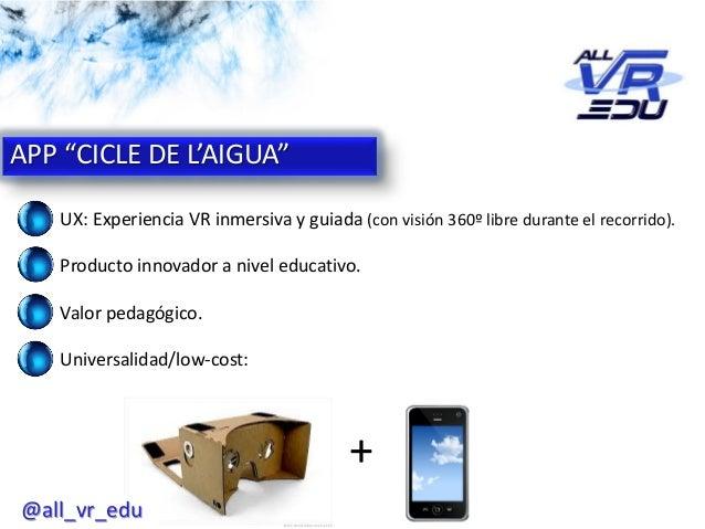 """App: Cicle de l'Aigua #VR APP """"CICLE DE L'AIGUA"""" UX: Experiencia VR inmersiva y guiada (con visión 360º libre durante el r..."""