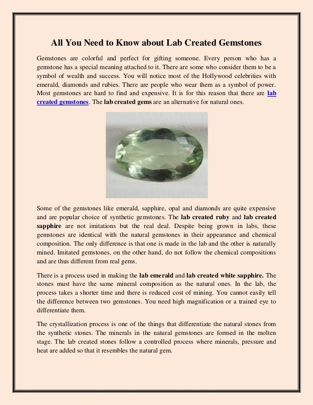 All you need to know about lab created gemstones
