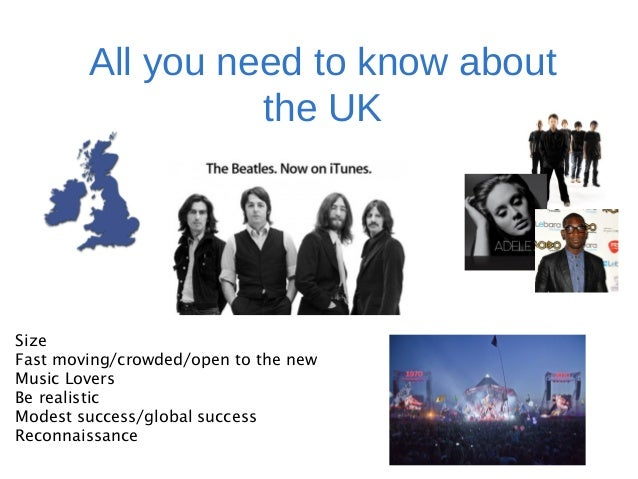 All you need to know about the UK Size Fast moving/crowded/open to the new Music Lovers Be realistic Modest success/global...