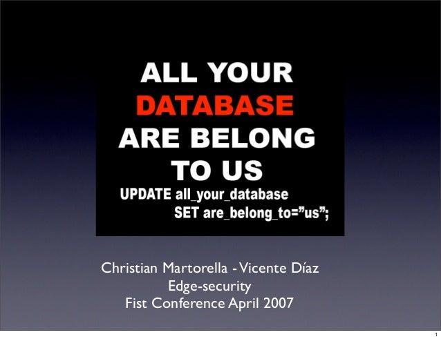 Christian Martorella - Vicente Díaz          Edge-security   Fist Conference April 2007                                   ...