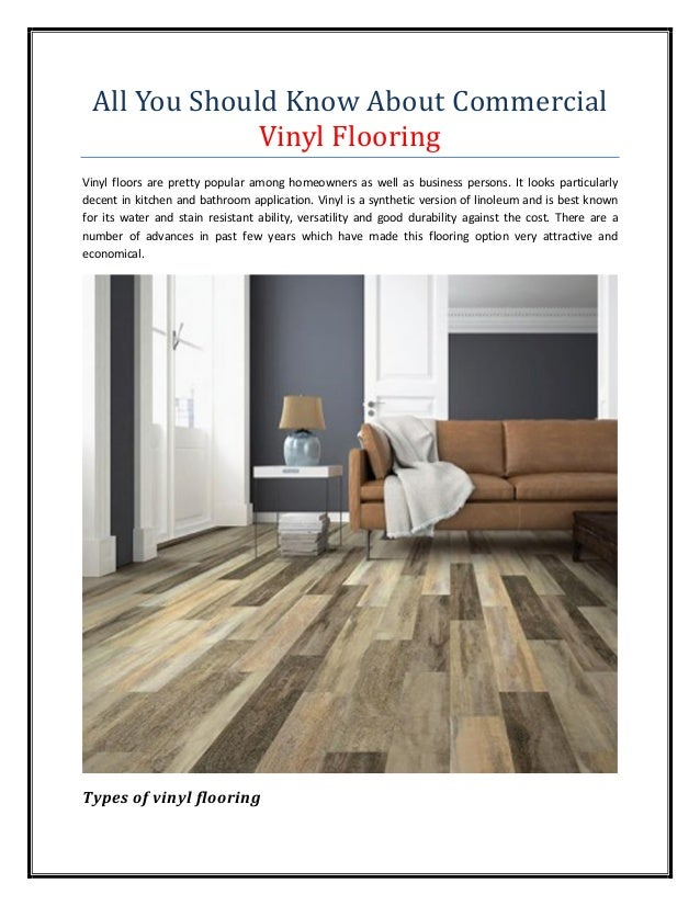 All You Should Know About Commercial Vinyl Flooring
