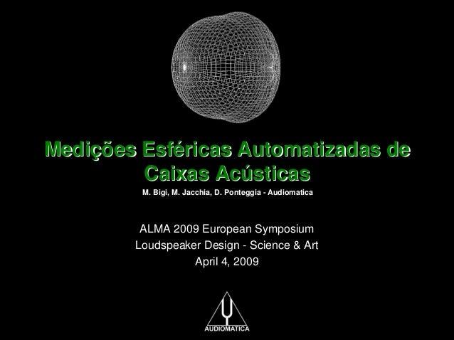 Medições Esféricas Automatizadas de Caixas Acústicas M. Bigi, M. Jacchia, D. Ponteggia - Audiomatica  ALMA 2009 European S...