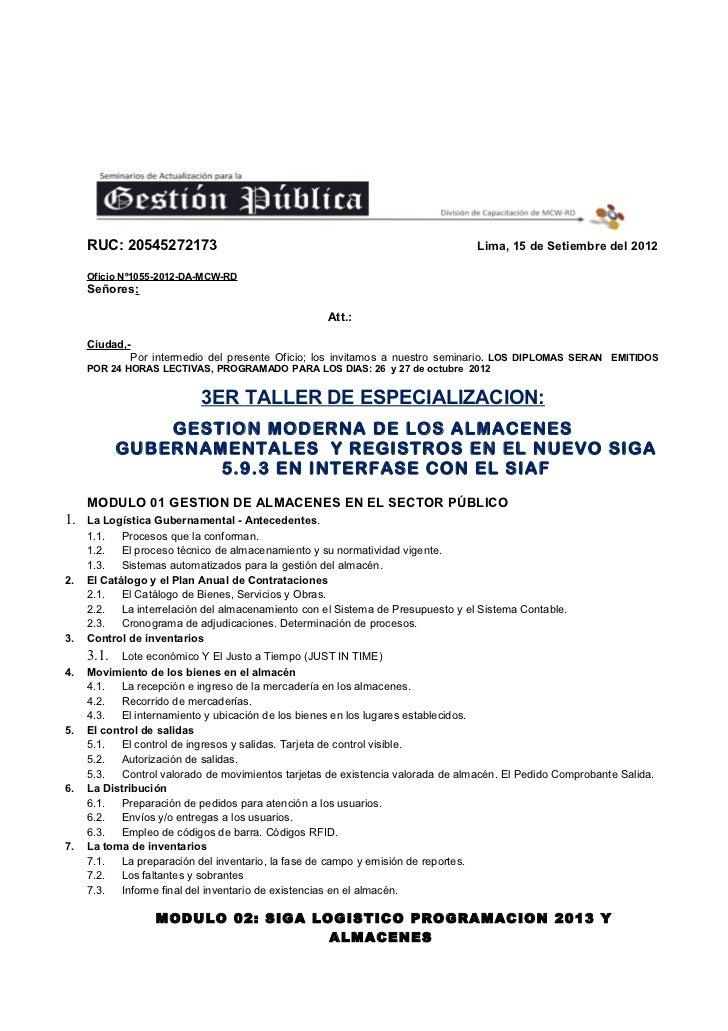 RUC: 20545272173                                                           Lima, 15 de Setiembre del 2012     Oficio Nº105...