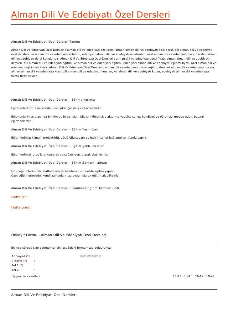 Alman Dili Ve Edebiyatı Özel DersleriAlman Dili Ve Edebiyatı Özel Dersleri TanımıAlman Dili Ve Edebiyatı Özel Dersleri : a...