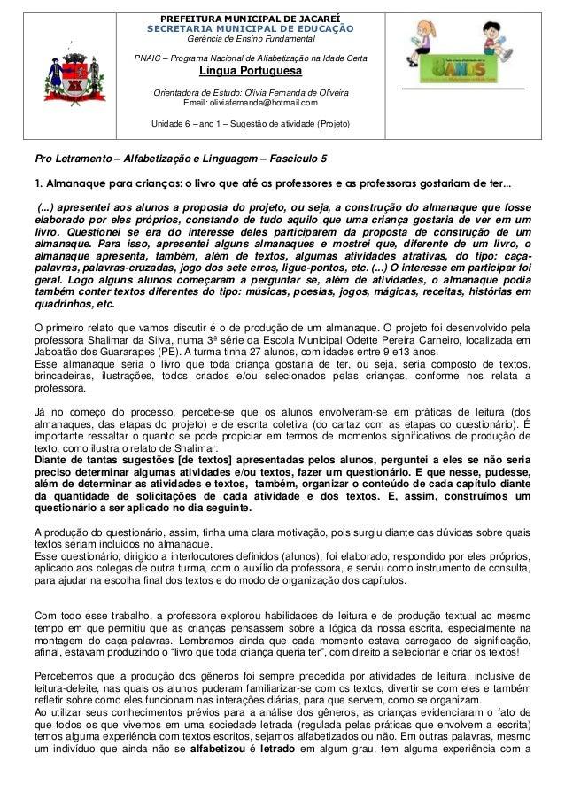 ,'  PREFEITURA MUNICIPAL DE JACAREÍ SECRETARIA MUNICIPAL DE EDUCAÇÃO Gerência de Ensino Fundamental PNAIC – Programa Nacio...