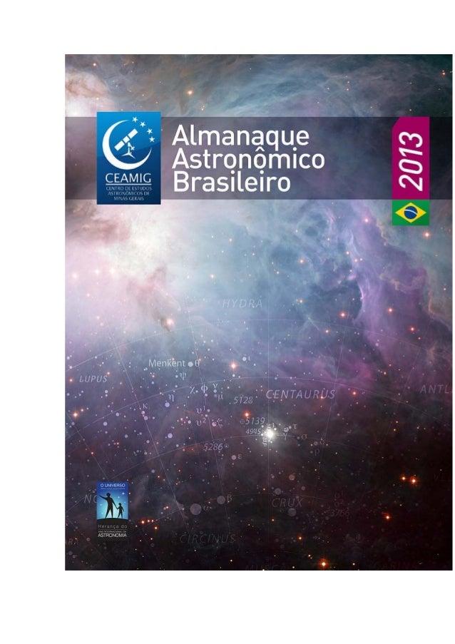 ALMANAQUEASTRONÔMICO BRASILEIRO   2013   Antônio Rosa Campos         CEAMIG            2