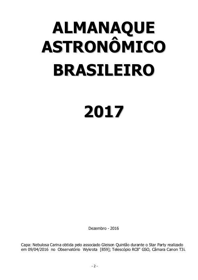 Almanaque Astronômico Brasileiro de 2017