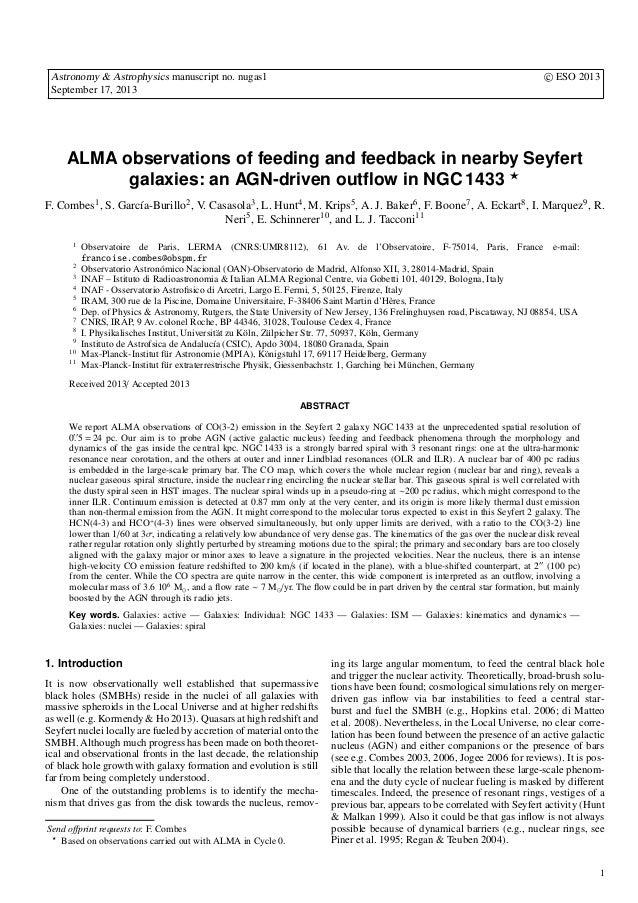 c ESO 2013  Astronomy & Astrophysics manuscript no. nugas1 September 17, 2013  ALMA observations of feeding and feedback i...