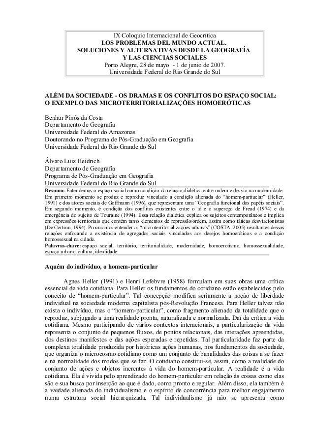 IX Coloquio Internacional de Geocrítica                    LOS PROBLEMAS DEL MUNDO ACTUAL.              SOLUCIONES Y ALTER...