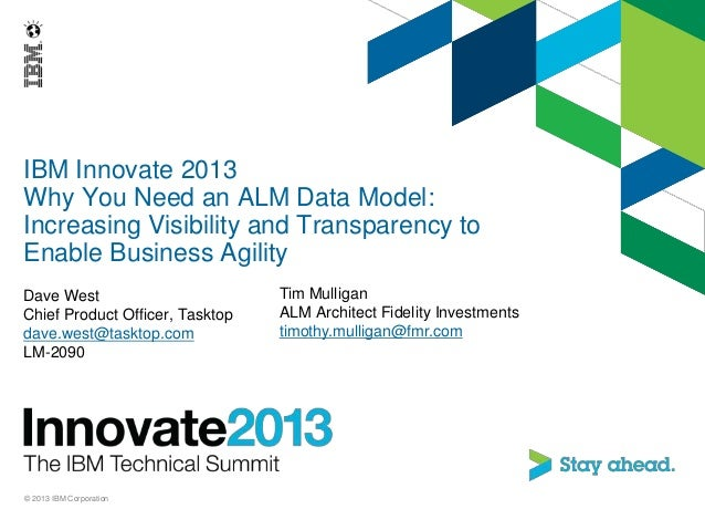 IBM Innovate 2013Why You Need an ALM Data Model:Increasing Visibility and Transparency toEnable Business AgilityDave WestC...