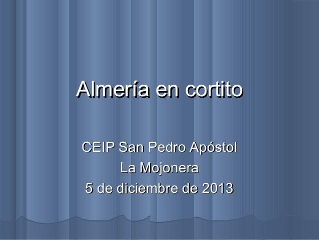 Almería en cortito CEIP San Pedro Apóstol La Mojonera 5 de diciembre de 2013