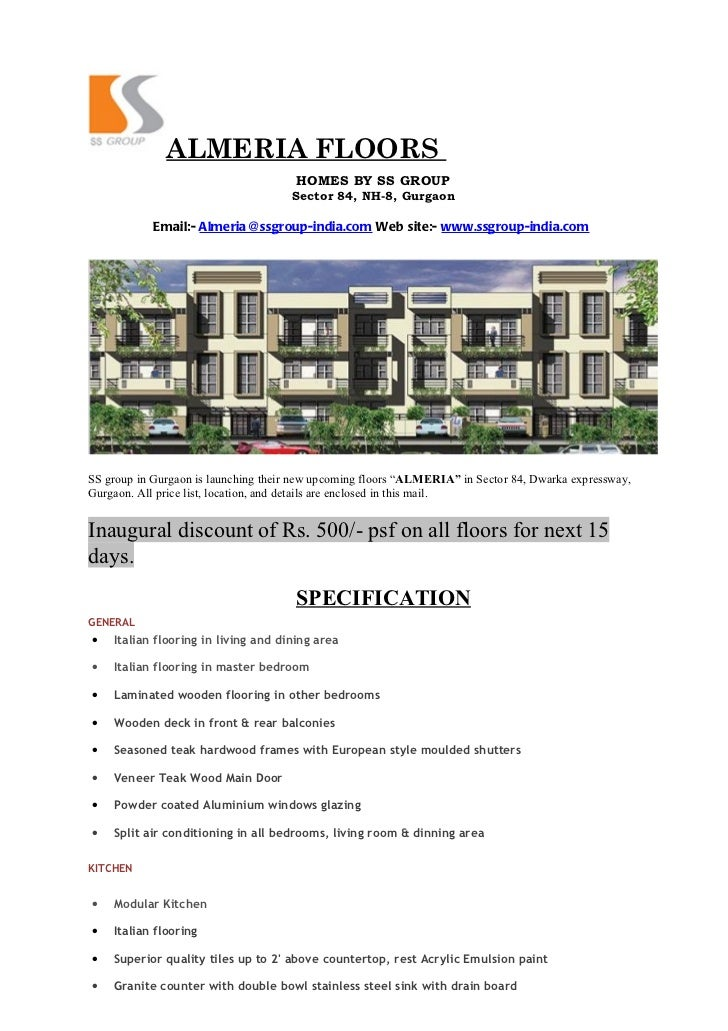 ALMERIA FLOORS                                      HOMES BY SS GROUP                                     Sector 84, NH-8,...