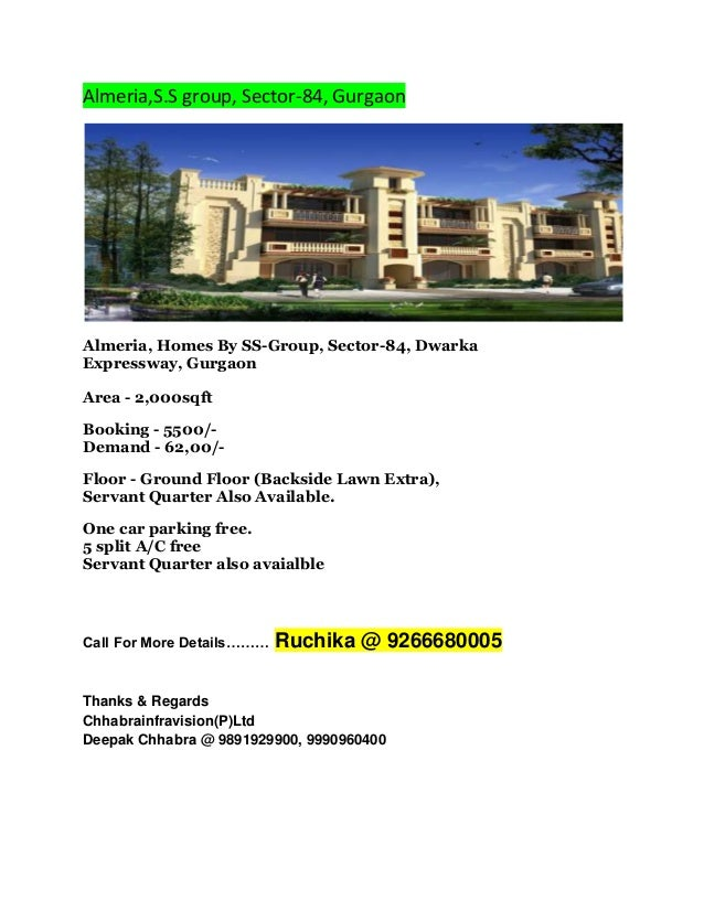 Almeria,S.S group, Sector-84, Gurgaon  Almeria, Homes By SS-Group, Sector-84, Dwarka Expressway, Gurgaon Area - 2,000sqft ...