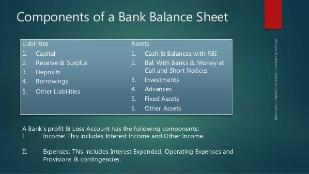Components ...  Components Of Balance Sheet