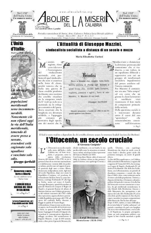 www.almcalabria.org  Nel 150° dell'Italia Unita  Nel 150° dell'Italia Unita  Un numero unico  Un numero unico solo 1,00  €...