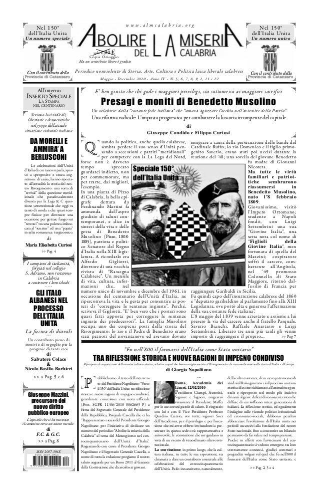 www.almcalabria.org  Nel 150° dell'Italia Unita  Nel 150° dell'Italia Unita  Un numero speciale  Un numero unico  €  solo ...