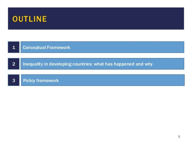 1 OUTLINE 1 Conceptual Framework 2 Inequality in developing countries: what has happened and why 3 Policy framework