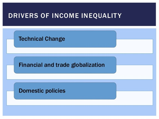 DRIVERS OF INCOME INEQUALITY Technical Change Financial and trade globalization Domestic policies