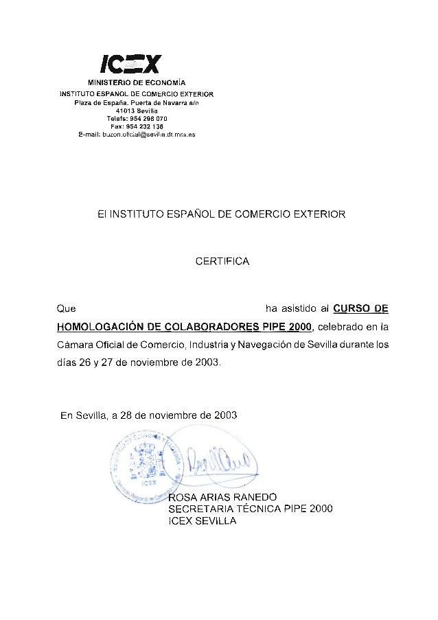 ICEX - Curso homologación colaboradores PIPE 2000 - 2003 certificado