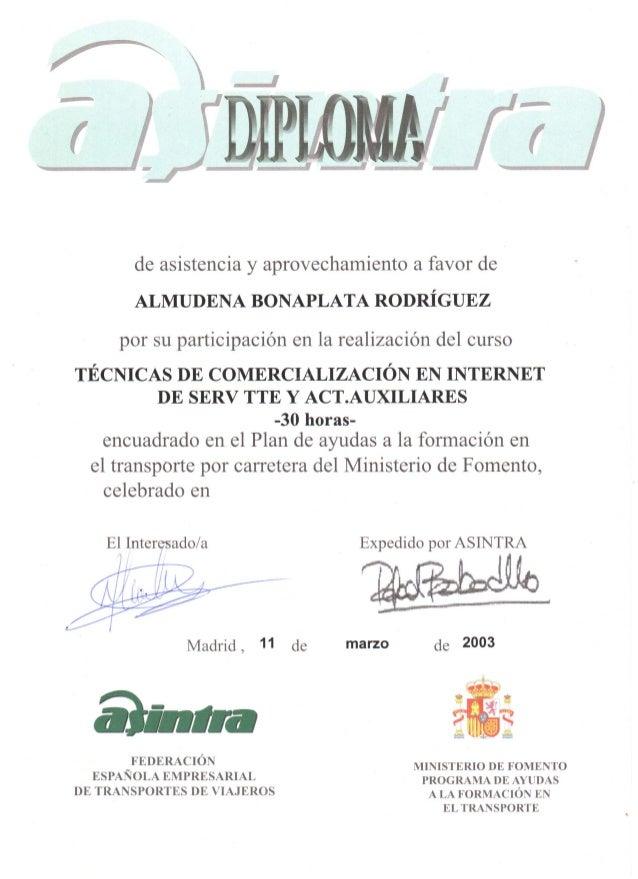 Asintra - Curso técnicas de comercialización en internet - 2003 certificado
