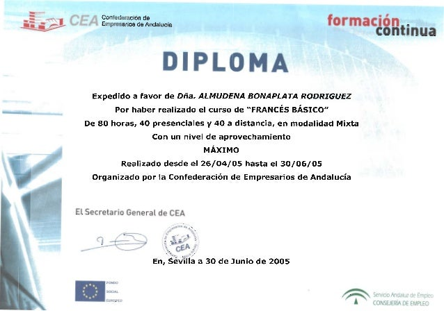Confederación de Empresarios - Curso francés básico - 2005 certificado