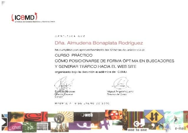 ICEMD - Curso posicionamiento en buscadores - 2005 certificado