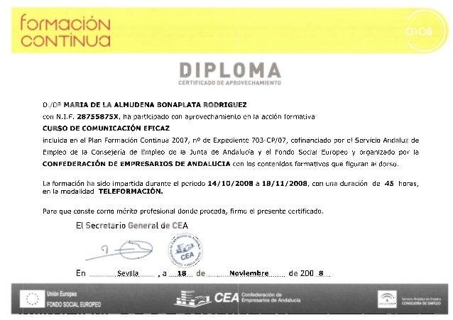Confederación de Empresarios - Curso comunicación eficaz - 2008 certificado