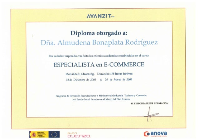 Avanzit - Curso especialista en e-commerce - 2009 certificado