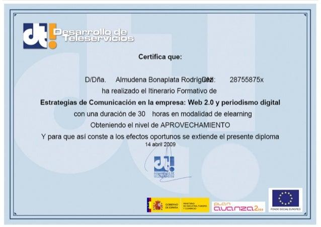 Avanza2 - Curso estrategias de comunicación en la empresa, web 2.0 y periodismo digital - 2009 certificado