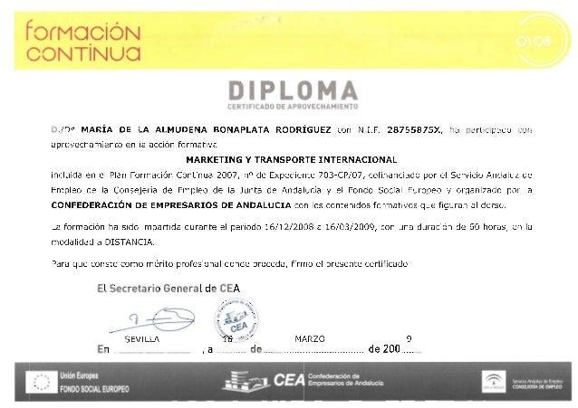 Confederación de Empresarios - Curso marketing y transporte internacional - 2009 certificado