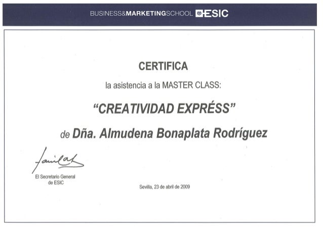 ESIC - Máster class creatividad express - 2009 certificado