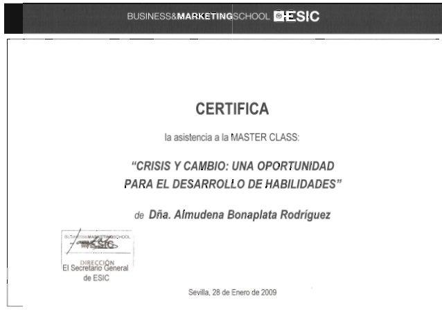 ESIC - Máster class crisis y cambio - 2009 certificado