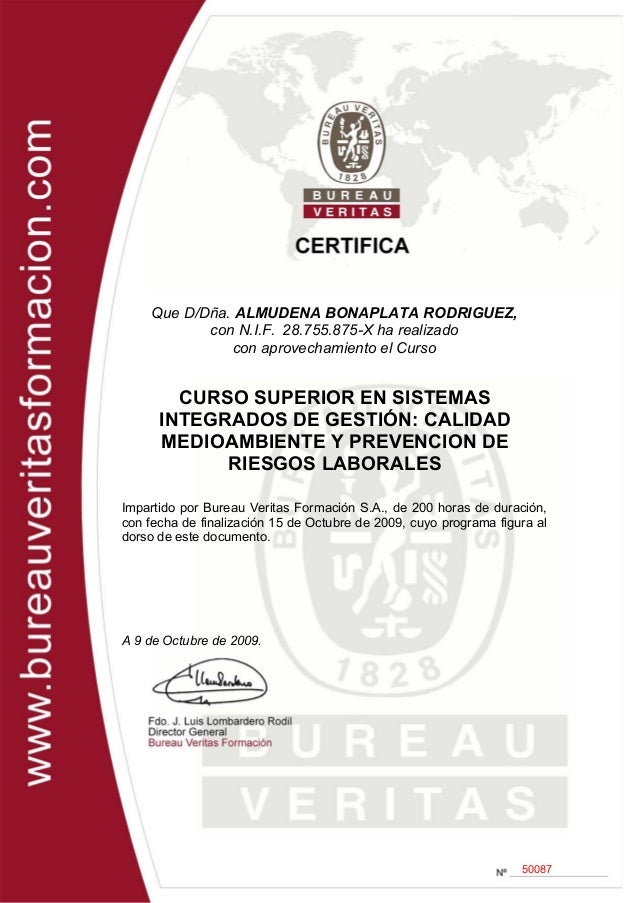bureau veritas curso sistemas integrados de gesti n 2009 certific. Black Bedroom Furniture Sets. Home Design Ideas