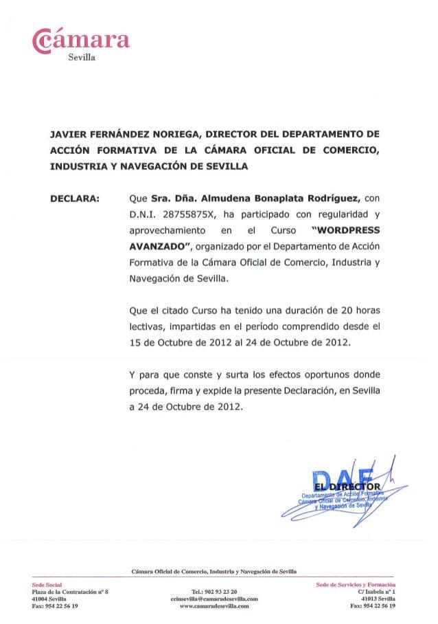 Cámara de Comercio de Sevilla - Curso Wordpress avanzado - 2012 certificado
