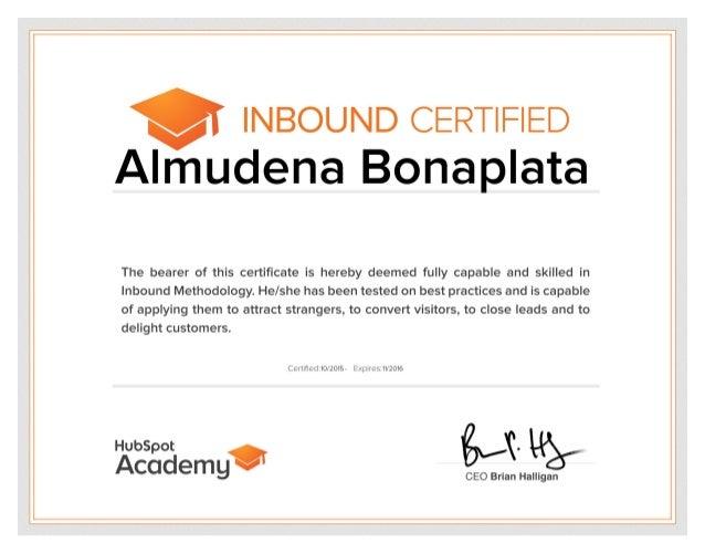 Almudena Bonaplata - 2015 - Hubspot Inbound Marketing Certification