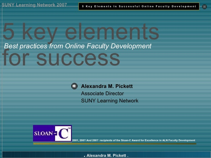 Alexandra M. Pickett   Associate Director SUNY Learning Network 2001, 200? And 200?  recipients of the Sloan-C Award for E...