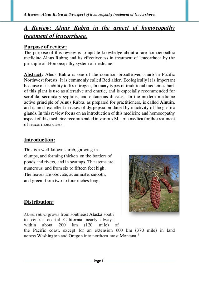 Alnus rubra article a review in homoeopathy aspect