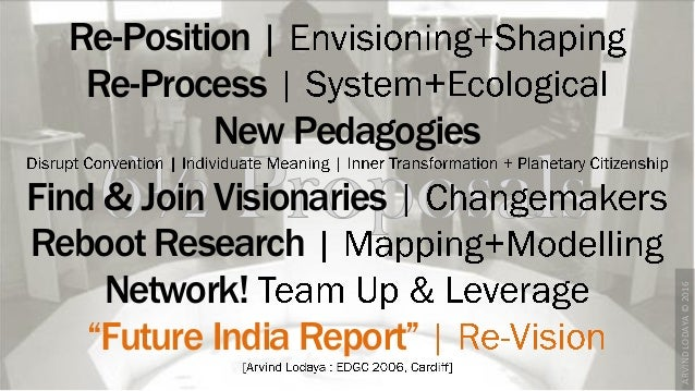 """Re-Position Re-Process New Pedagogies Find & Join Visionaries Reboot Research Network! """"Future India Report"""" ARVINDLODAYA©..."""